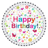 Happy Birthday circle greeting card with flowers Stock Photos