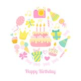 Happy Birthday circle vector icons. Party Birthday vector background Royalty Free Stock Photos