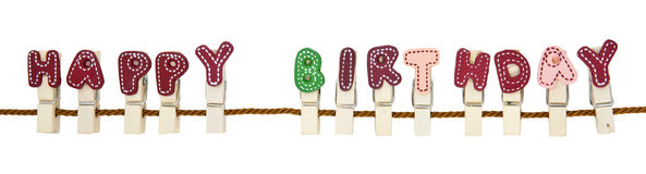 Happy Birthday clip. English alphabet wooden clip on the rope Stock Images