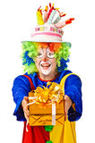 Happy birthday clown with gift box. Stock Images