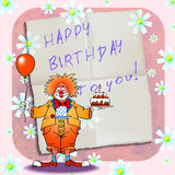 Happy birthday clown 01 Stock Images