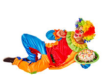 Happy birthday clown holding cake. Royalty Free Stock Images