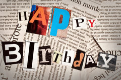 Happy birthday collage with newspaper and magazine letters Stock Photography