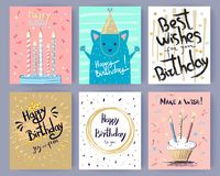 Happy Birthday Collection of Creative Postcards Stock Photo