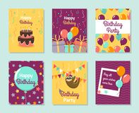 Happy Birthday Collection greeting templates. Invitation cards to the party. Vector banners with cake, balloons, gifts. Card with cute small sloth stock illustration