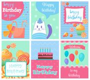 Happy Birthday Collection set of invitation cards greeting templates, to the party. Vector banners with confetti, cat. Cake, balloons, candy and gifts stock illustration