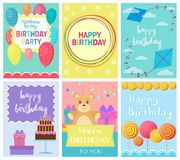 Happy Birthday Collection set of invitation cards greeting templates, to the party. Vector banners with confetti, teddy. Bear, cake, balloons, candy and gifts Stock Photos