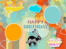 Happy birthday. Colored ticket happy birthday and decoration Royalty Free Stock Photography