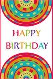 Happy birthday colorful abstract geometric cartoon Royalty Free Stock Photo