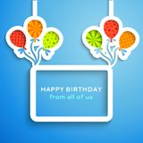 Happy birthday colorful applique background. Vector illustration for your funny holiday design Royalty Free Stock Images
