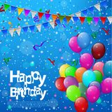 Happy Birthday with colorful balloons in blue background. Vector Illustration Of Happy Birthday with colorful balloons in blue background Royalty Free Stock Image