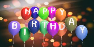 Happy birthday colorful balloons on festive abstract background. 3d illustration Royalty Free Stock Photos