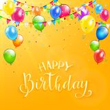Happy Birthday with colorful balloons and pennants on orange bac. Text Happy Birthday on orange background with flying colorful balloons, streamers, confetti Royalty Free Stock Photography