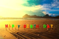 Happy Birthday Colorful Candles On Beach Sunrise A