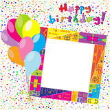 Happy Birthday colorful card with confetti and balloons Royalty Free Stock Photo
