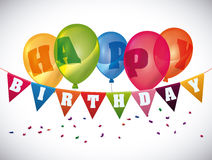 Happy birthday colorful card design. Royalty Free Stock Photography