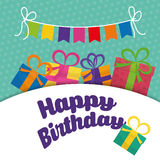 Happy birthday colorful card. Design, vector illustration Royalty Free Stock Images