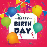 Happy birthday colorful card Royalty Free Stock Images