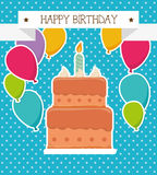 Happy birthday colorful card. Design, vector illustration graphic Stock Photography