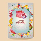 Happy birthday colorful card with gift box. Additional in eps 10 file Stock Image