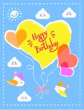 Happy Birthday Colorful Card Vector Illustration. Happy Birthday, colorful card, with headline, balloons and clouds, with emotions, birds and sun, frame and Royalty Free Stock Photo