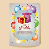 Happy birthday colorful card with present box. Additional file in eps 10 Stock Photo