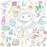 Happy Birthday colorful children's drawings illustration Stock Image