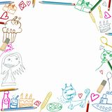 Happy Birthday colorful frame children drawings  on white background Royalty Free Stock Photography