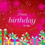 Happy birthday with colorful gift on red background. Vector Happy birthday on star background. Royalty Free Stock Images