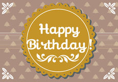 Happy Birthday. Colorful greeting with rounded brown element and the text Happy Birthday written in the middle of the image Royalty Free Stock Photography