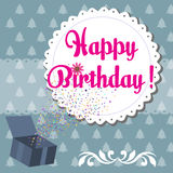 Happy Birthday. Colorful birthday greeting and the text Happy Birthday written with pink letters on a white rounded decoration Stock Photos