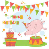 Happy Birthday!. Colorful illustration of cute little pig playing Stock Image