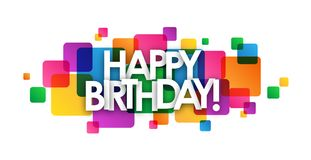 HAPPY BIRTHDAY! colorful overlapping squares banner. Vector stock illustration