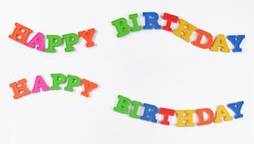 Happy birthday colorful text on a white Royalty Free Stock Image