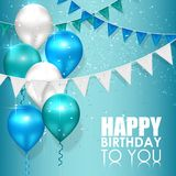 Happy birthday colors on blue water background Royalty Free Stock Photos
