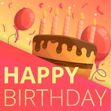 Happy birthday concept background, cartoon style vector illustration