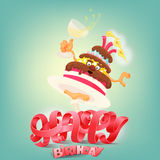 Happy Birthday concept card with cake character Stock Photos