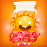 Happy Birthday concept card with crazy sun character Stock Image