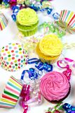Happy birthday concept with copy space. Happy birthday concept bright colorful cupcakes with copy space on white background royalty free stock photos