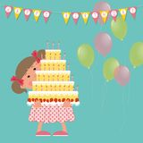 Happy birthday concept. Cute smiling girl holding a big cake with candles in her hands stock illustration