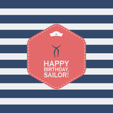 Happy birthday concept greeting card with nautical Stock Image