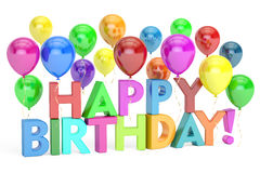 Happy Birthday concept. Happy Birthday colored inscription with Royalty Free Stock Photo