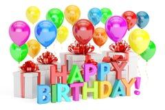 Happy Birthday concept. Happy Birthday colored inscription  Stock Photos