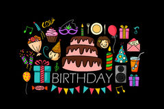 Happy Birthday concept for web design template Stock Images
