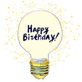 Happy birthday conceptual greeting card with lightbulb Royalty Free Stock Images