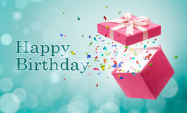 Happy Birthday. Confetti popping out from gift box Royalty Free Stock Photography