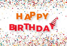 Happy birthday congratulation template. Colorful text Happy Birthday with falling color confetti. Vector illustration royalty free illustration