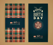 Happy birthday congratulations, vintage retro background with ge. Ometric pattern. Hipster style. Vector illustration Royalty Free Stock Image