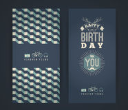 Happy birthday congratulations, vintage retro background with ge. Ometric pattern. Hipster style. Vector illustration Royalty Free Stock Photos
