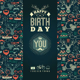 Happy birthday congratulations, vintage retro background with hi. Pster seamless pattern. Hipster style. Vector illustration Stock Photography